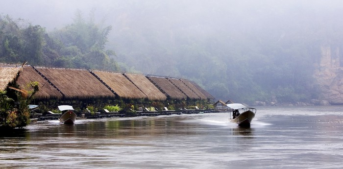 Unique hotel River Kwai Jungle Rafts, Thailand
